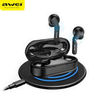 AWEI T10C TWS Bluetooth V 5,0 Kopfhörer Kopfhörer Wireless Headset Touch Control Ohrhörer Wireless Charging für xiaomi iPhone