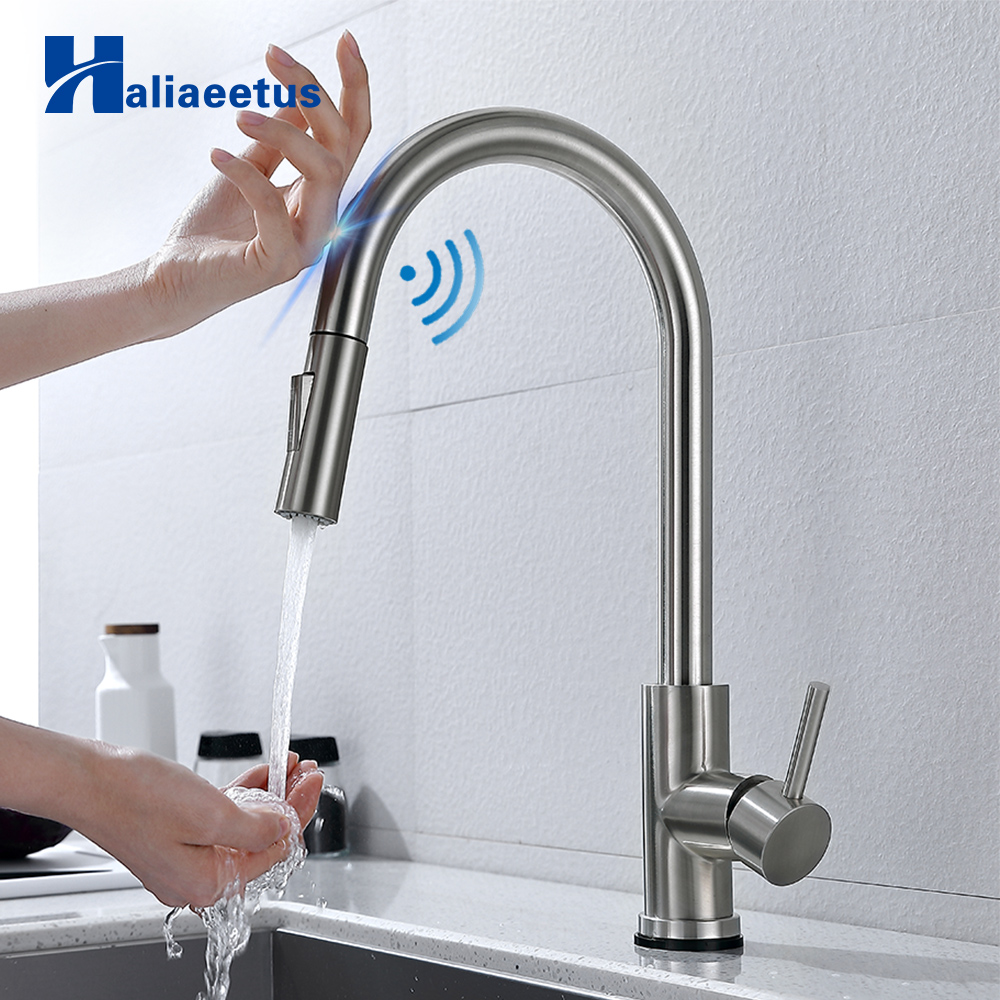 Kitchen Faucets Smart Sensor Pull-Out Hot And Cold Water Switch Mixer Tap Smart Touch Spray Tap Kitchen Convenient Faucets