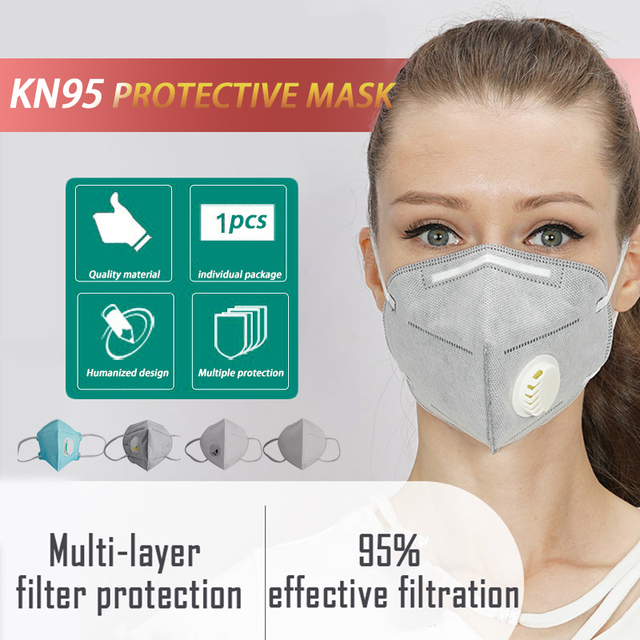 1PC  KN95 Folding Valved Dust Mask PM2.5 Anti flu Formaldehyde Bacteria Proof Face Mouth Mask Safe Breathable NEW
