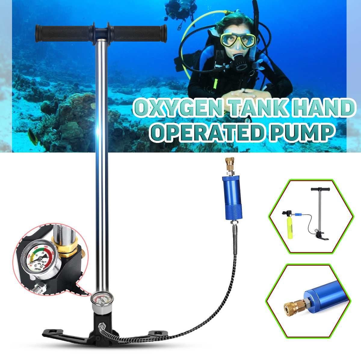 SMACO Diving Equipment Scuba Oxygen Air Tank Diving Cylinder Snorkeling Respirator Dive Mouthpiece High Pressure Air Pump