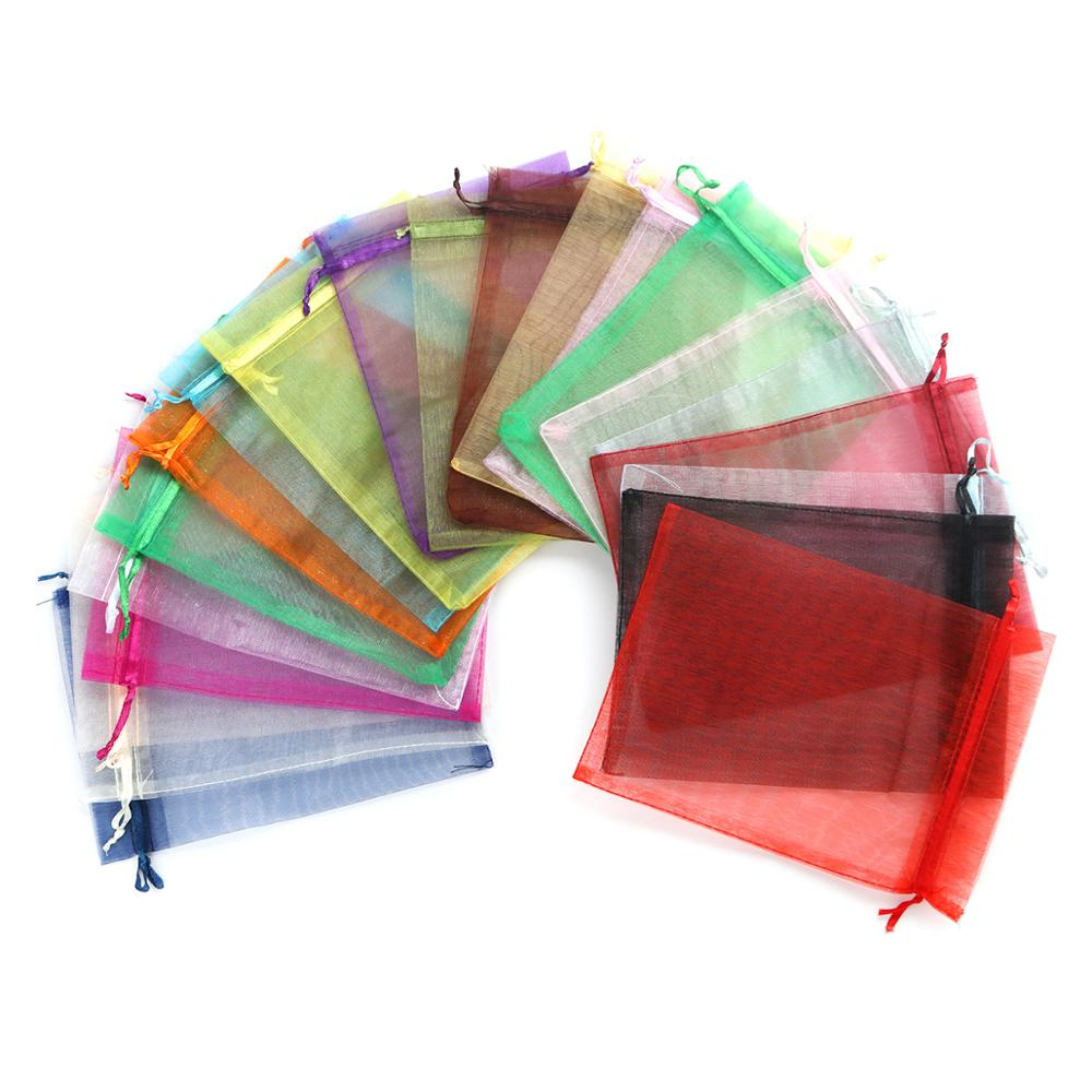 DoreenBeads 20PCs 16x11cm Organza Jewelry Bags Party Weddings Drawable  Rectangle Candy Packaging Bags Gift Pouches 24Colors