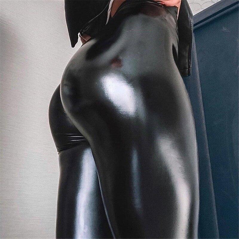 2019 Autumn Sexy Leather Leggings XL PU Leather Pants Women's High Waist Leggings Women's Super Elastic Women's Leather Pants