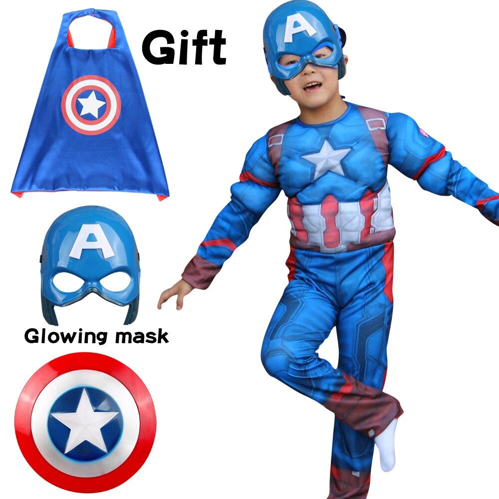 Карнавальный костюм капитана Северной Америки на Хэллоуин, детские комбинезоны с супергероями, маска, накидка, костюмы для косплея для маль...