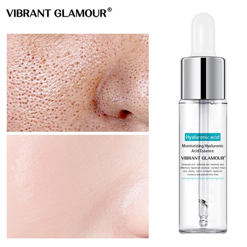 VIBRANT GLAMOUR Hyaluronic Acid Face Serum Anti-Wrinkle Moisturizing Essence Shrink Pore Water-Locking Whitening Skin Care 15ml