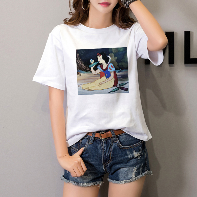 2020 Summer Fashion Princess Beauty Snow White Cinderella Disney Princess Shirt Casual Top Ladies Girls Jersey Direct Mail Retro