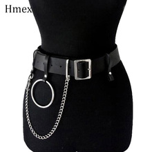New Belts For Jeans Chain Belt Women Sexy Leather Big O-ring Belt Gothic Punk Adjustable Belt Chain цепь на штаны Accessories недорого