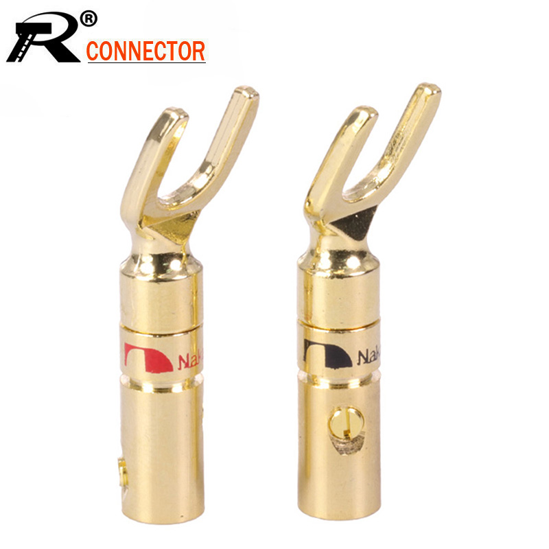 100Pcs//lot Banana Plug 24K Gold Plated Y Shape Fork Banana Male Connector Speaker Plug Audio Adapter