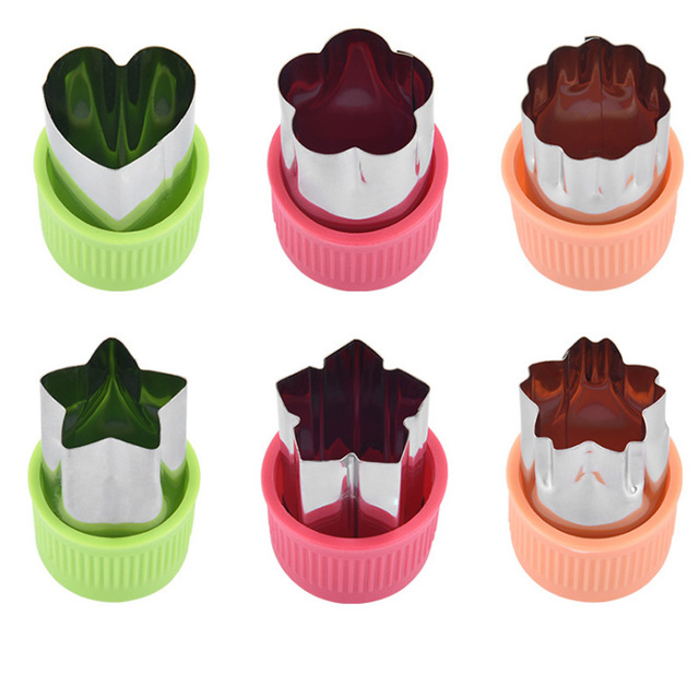 Star Heart Shape Vegetables Cutter Plastic Handle 3Pcs Portable Cook Tools Stainless Steel Fruit Cutting Die Kitchen Gadgets 4