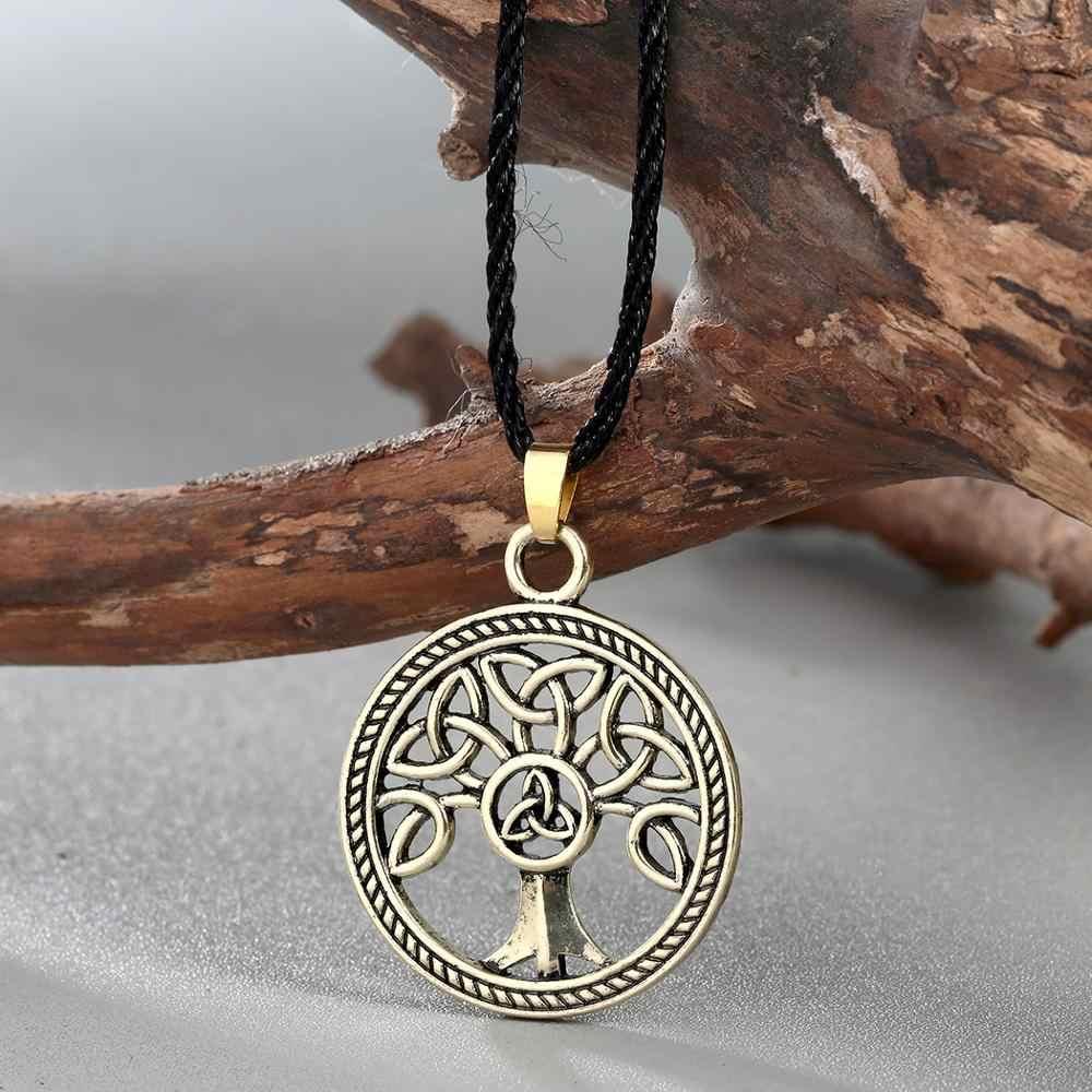 QIAMNI Retro Knot ต้นไม้ครอบครัวรอบชีวิต Amulet จี้สร้อยคอเชือก Choker Nordic Rune เครื่องประดับผู้หญิงผู้ชายของขวัญอุปกรณ์เสริม