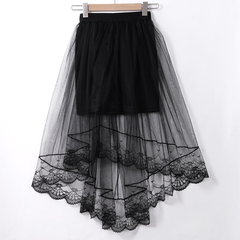 Sexy Vintage Women Stretch High Waist Visible Mesh Tulle Lace Floral Long Maxi Skirt Flared Pleated Swing Long Summer Skirts