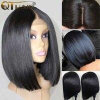 QT krótki koronki przodu peruki z ludzkich włosów Bob peruka z Pre oskubane linia włosów 4x4 koronkowa peruka dla czarnych kobiet brazylijski peruki z prostymi włosami