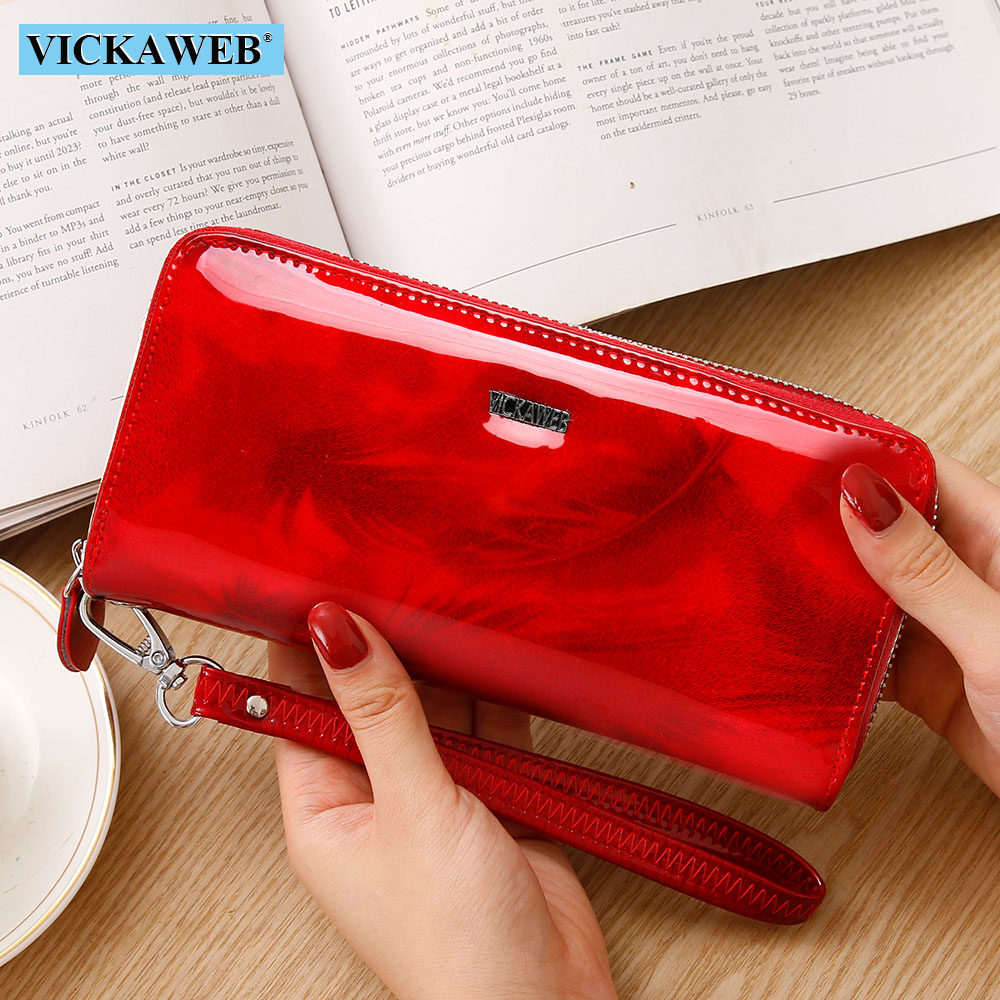 VICKAWEB Shiny Genuine Leather Women Wallets Zipper Card Holder Solid Purses Female Long Wristlet Wallet Ladies Coin Purse AL38