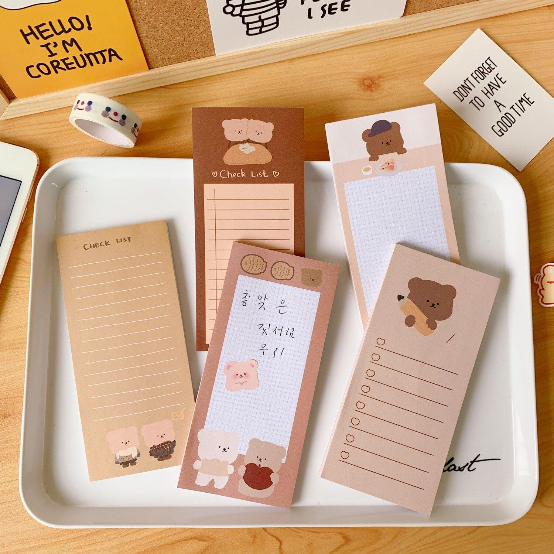 Sixone dos desenhos animados biscoito urso grade longa nota livro bloco de memorando papel kawaii papelaria diy para fazer lista planejador adesivos material escolar
