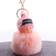 Cute Sleeping Baby Plush Doll Kids Baby Toy Fur Ball Key Chain Pendant Girl Bag Ornaments Easter Decor Birthday Favors Xmas Gift(China)