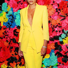 Sexy Deep V Neck Yellow Pant Suit Set Female Interview Busin