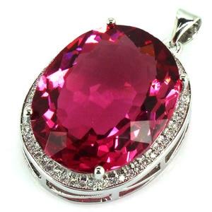 34x21mm Big Gems 22x18mm Created Pink Tourmaline, White CZ SheCrown Ladies Engagement Silver Pendant