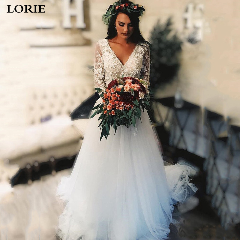 LORIE Lace Boho Wedding Dress Long Sleeve Bridal Dresses Sexy V Neck Backless Vestidos De Novia Wedding Gowns