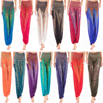 Thailand Peacock Feather Print Elastici High Waist Silk Bloomers Pants Women  Pocket Wide Leg Jogger Baggy Workout Pant Trousers 1