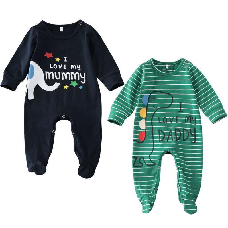 Baby Boys Girls Dinosaur Print Fleece Pajamas Warm All In One Babygrow Suit 0-24