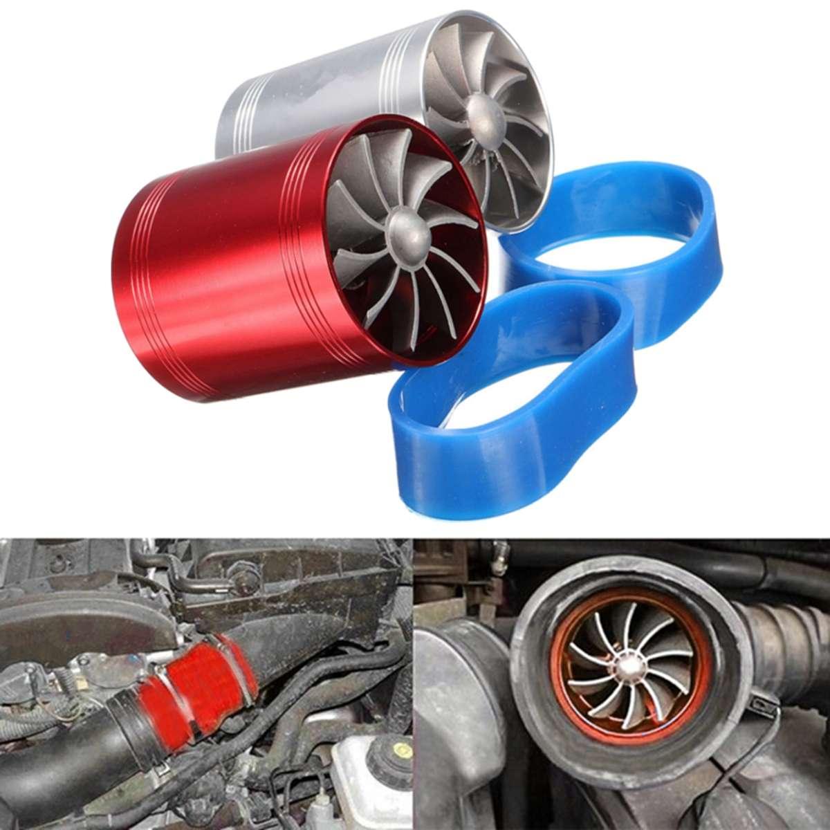 1x Auto Car SuperCharger Air Intake Turbo Engine Turbine Dual-Fan Aluminum Alloy