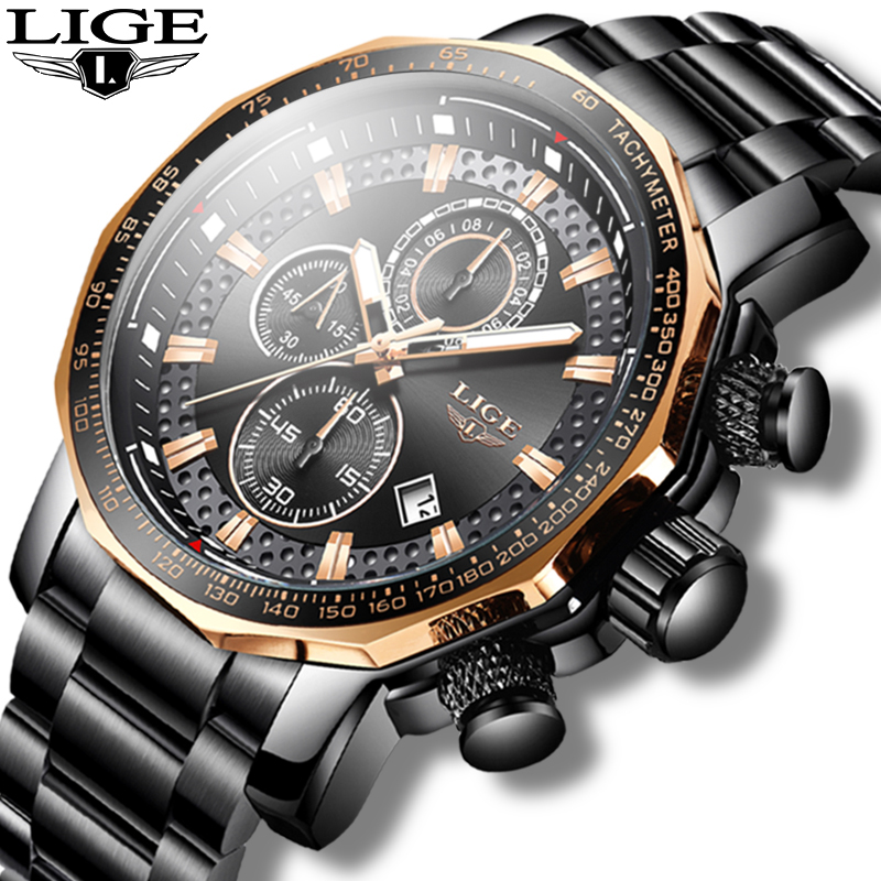 New 2020 LIGE Mens Watches Top Brand Luxury Sport Quartz All Steel Male Clock Military Waterproof Chronograph Relogio Masculino