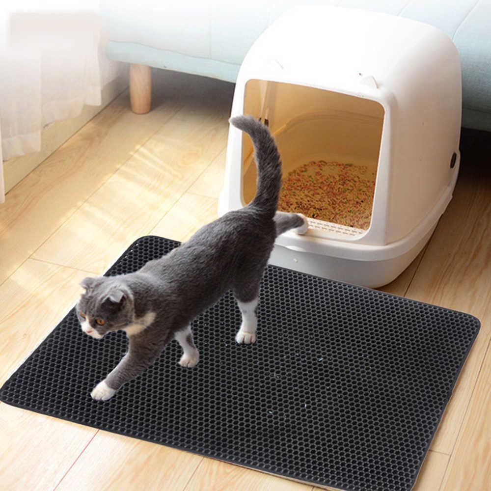 Kedi kumu matı EVA çift katmanlı Pet kedi kumu Trapper paspaslar su geçirmez alt kaymaz Pet çöp kedi matı katmanlı kattenmand