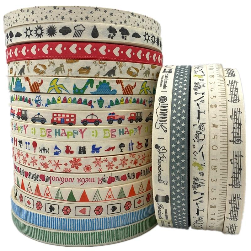 Handmade Design Printed Ribbon Sewing-Fabric Christmas-Decoration DIY Wedding 15mm 5yards/Lot
