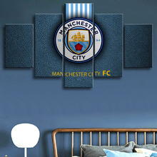 Framed 5 Pieces Premier League Manchester City Football Posters Canvas Paintings Wall Art Prints Pictures Boys Sports Decor