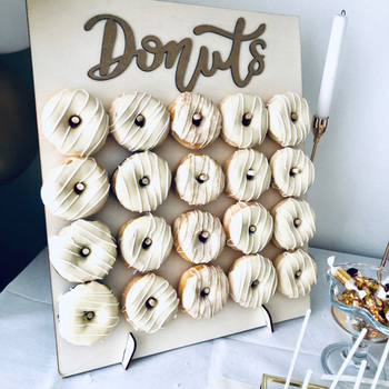 20/9 Sticks Wooden Donut Wall Donut Display Holder Wedding Party Table Decoration Baby Shower Donuts Birthday Party Supplies wooden wall holds donut boards stand hanging donuts table wedding decoration accessories baby shower kids birthday party decor