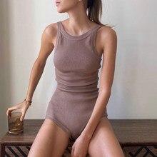 Sexy bodysuit feminino com nervuras de malha sem mangas o pescoço streetwear macacão magro bodycon bodysuit combishort loungewear fitness ouifit