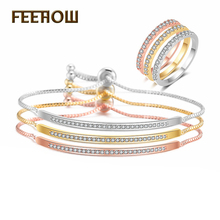 FEEHOW New Elegant Round Cubic Zirconia Tennis Bracelet Ring Set for Women Wedding Dinner Party Birthday Gift Jewelry FWSP3018