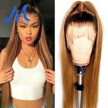 1b/27 mel loira frente do laço perucas de cabelo humano para preto feminino ombre destaque pré arrancado brasileiro remy laço frontal perucas