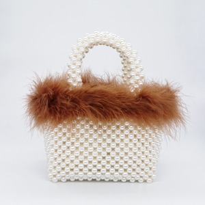 Image 4 - Faux Fur Pearl Evening Bag Women Hand Woven Panelled Beaded Tote Purses And Handbags Female Cute Shoulder Bag Dinner Party New