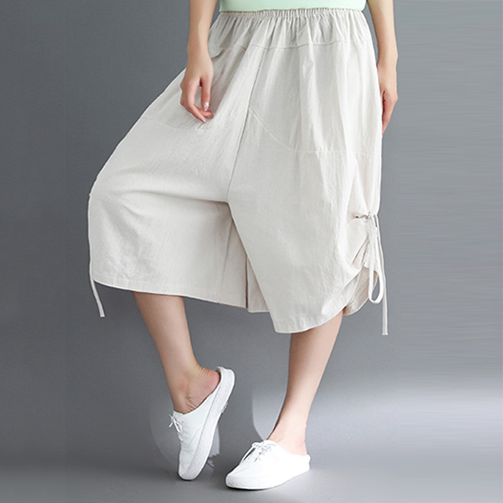 cargo trousers women's Ethnic Style Frenal Loose Pure Color Calf-Length Pants Fours Trouser pantalones tallas grandes #y3