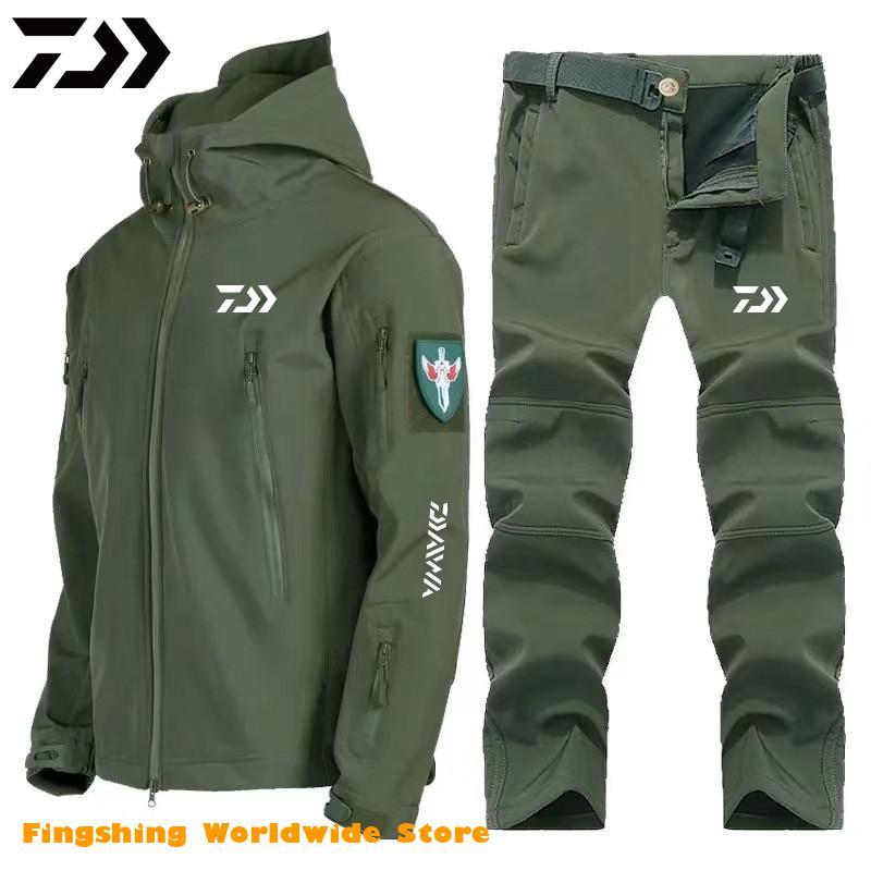 2021 New Spring DAIWA Fishing Clothing Set Waterproof Windproof Warm Man Outdoor Fishing Jacket And Pants Soft Shell Clothes