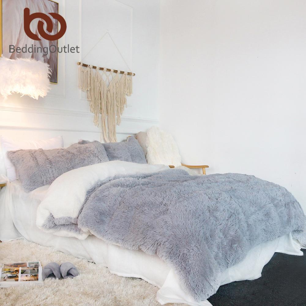 BeddingOutlet Shaggy Duvet Cover Queen Ultra Soft Plush Faux Fur Bedding Set 3 Pieces Luxury Bed Cover Gray Pink Bed Linen