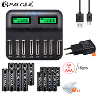 PALO LCD display Smart USB battery Charger for AA AAA C D Size Rechargeable Battery+1.2V Ni MH AA AAA rechargeable batteries