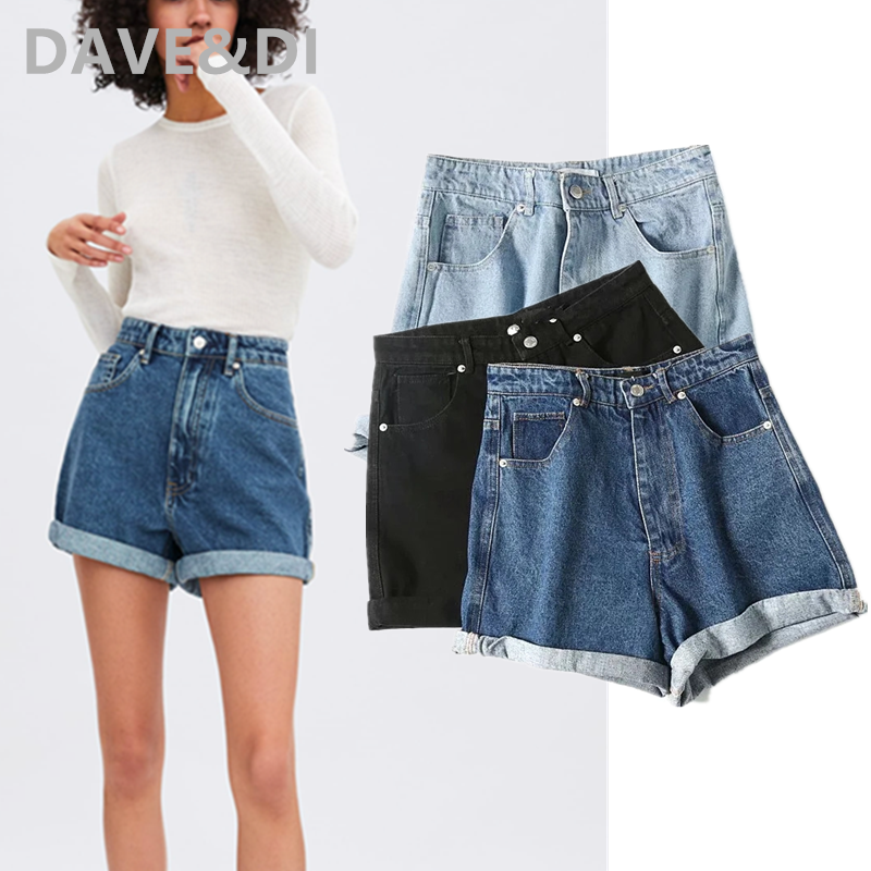 Dave&Di 2020summer BTS England High Street Vintage Multicolor High Waist Roll Up Mom Harem Shorts Women Short Feminino Plus Size