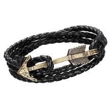 2016 nueva llegada de cuero con encanto multicapa Vintage pulsera de flecha de bronce pulsera de ancla para hombres y mujeres a