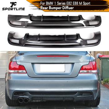 Rear Bumper Diffuser Lip Spoiler for BMW 1Series E82 E88 128i 135i M Sport 2008-2013 M Tech Coupe Convertible Carbon Fiber / FRP image