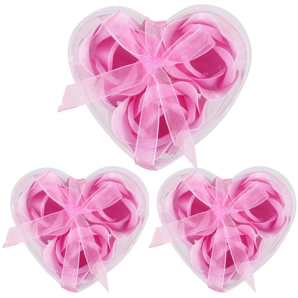 3PCS Artificial Flower Soap Rose Soap Heart Scented Bath Body Petal Rose Flower Soap Case Wedding Decoration Gift Festival Box