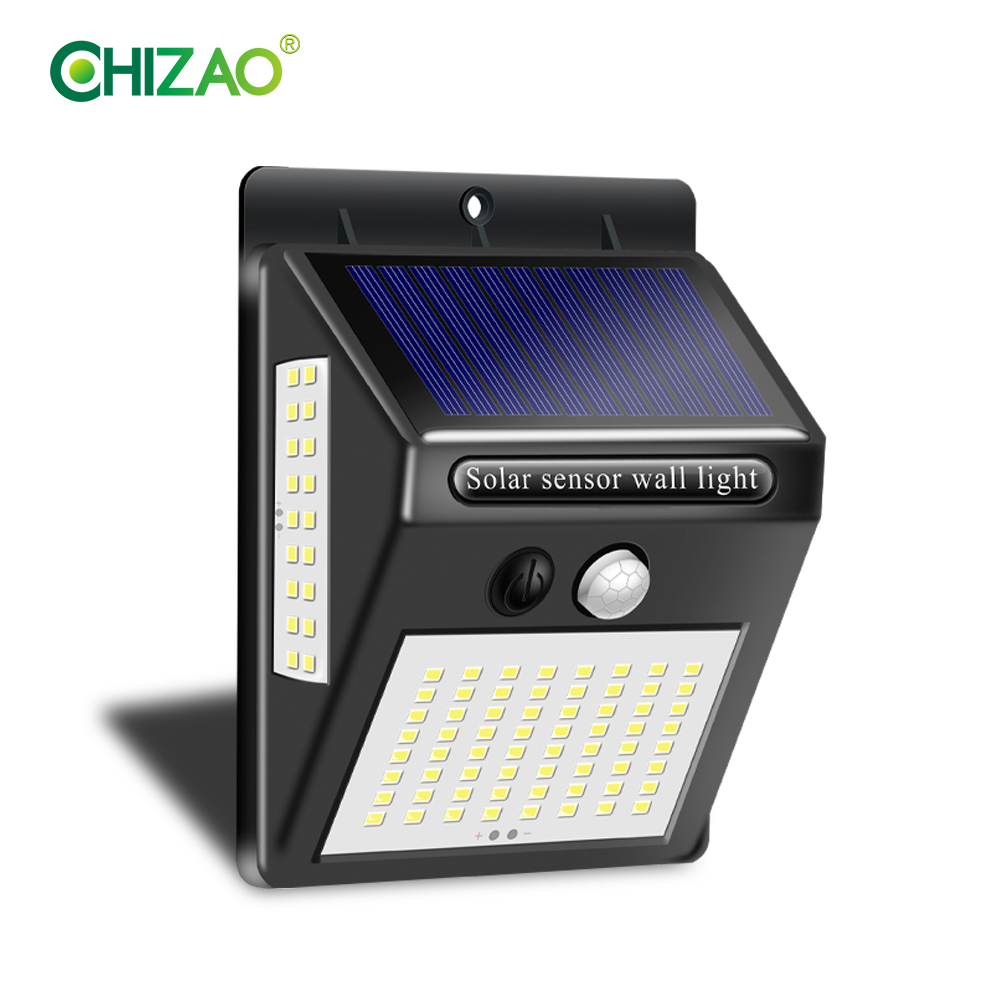 CHIZAO 100LED Solar Lamp High Brightness Solar Energy Charging Outdoor Wireless Automatic Wall Lamp Motion Sensor Light