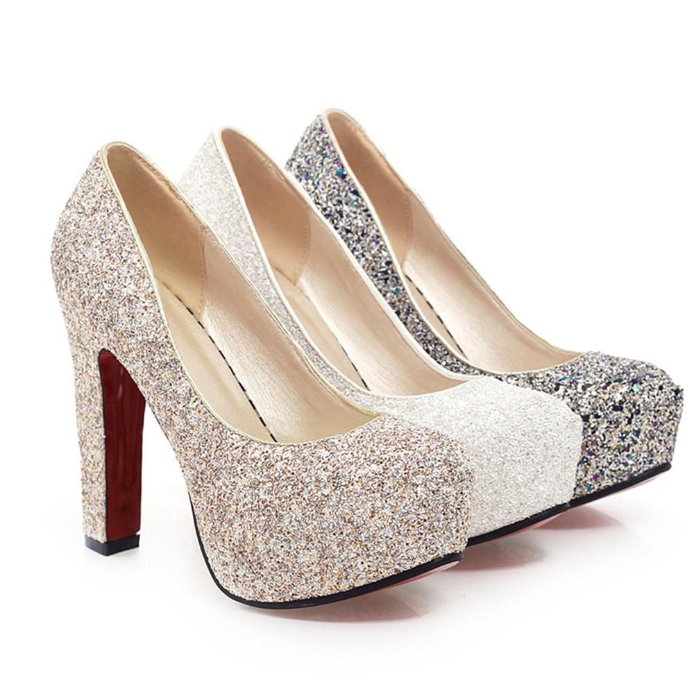J&K 2019 New Brand High Heels Glitter Wedding Shoes Pumps Sequine Hot Sale Fashion Thick Heel Platform Shoe Woman Big Size 32-43