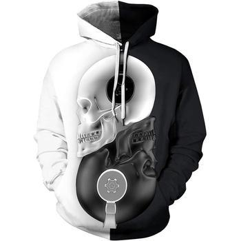 Mens brand new skull 3D digital print hip-hop mens/womens sweatshirt hoodie park sports couple casual  S-7XL