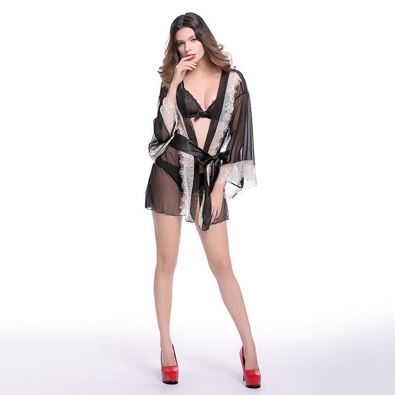 Sexy hazy beautiful elegant bathrobe black cardigan open waist lace pajamas fun suit erotic seduction adult lingerie sex shop