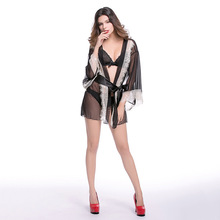 Sexy hazy beautiful elegant bathrobe black cardigan open waist lace pajamas fun suit erotic seduction adult lingerie sex shop