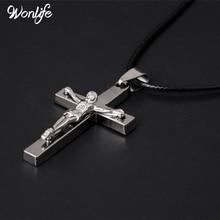 Brand Necklace Silver Color Jewelry Antique Cross Crucifix Jesus Pendant Necklaces For Women Men