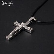 цена на Brand Necklace Silver Color Jewelry Antique Cross Crucifix Jesus Cross Pendant Necklaces For Women Men