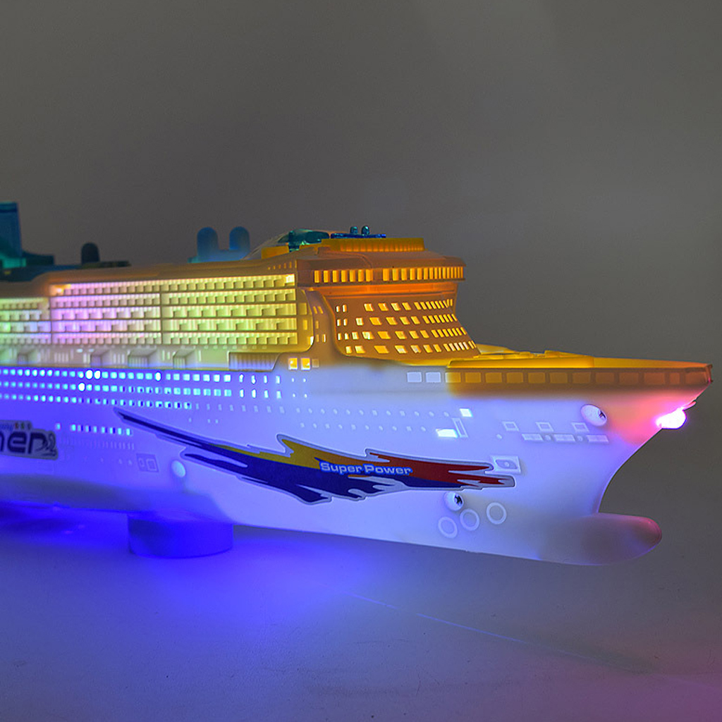 Ocean Liner Cruise Ship Boat Electric Toy Flashing LED Lights Sounds Kids Child Xmas Gift Changes Directions On Contact