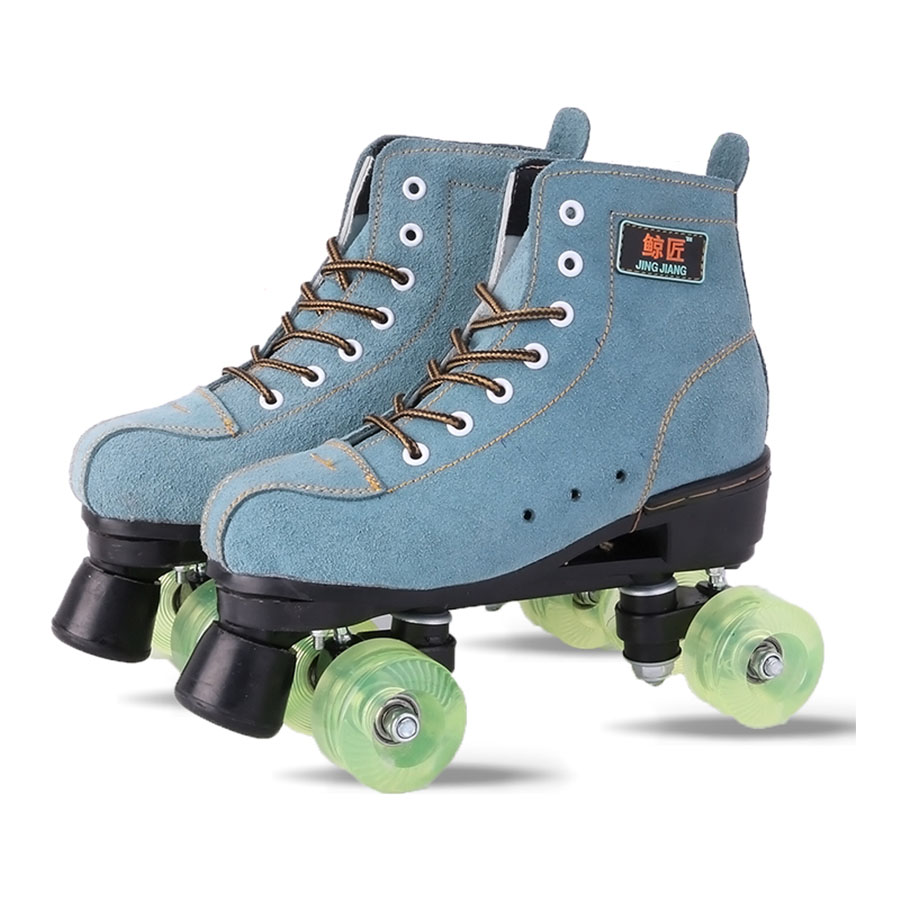 japy-artificial-leather-roller-skates-green-double-line-skates-men-adult-two-line-skating-shoes-patines-with-black-pu-4-wheels